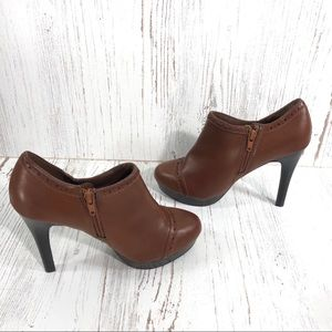 Worthington brown high heel zippered booties